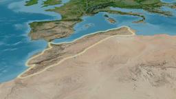 Revolution around Atlas mountain range - glowed. Satellite imagery Animation
