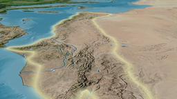 Glide over Atlas mountain range - glowed. Satellite imagery Animation