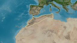 Zoom into Atlas mountain range - glowed. Satellite imagery Animation