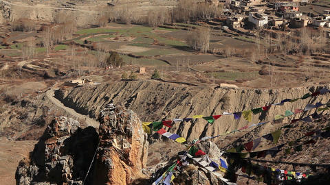 Buddhist Colorful Flags Muktinath Footage