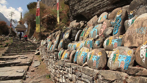 Buddhist Prayer Stones Footage