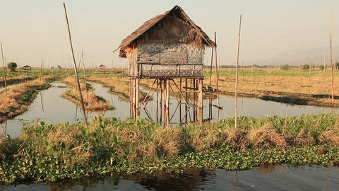 Inle Lake Floating Gardens House Footage