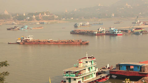 Teak Barge Irrawaddy Footage