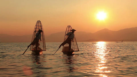 Sunset Inle Lake Fishermen Footage