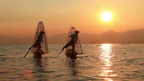 Sunset Inle Lake Fishermen Footage
