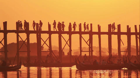 U Bein Bridge Sunset Footage