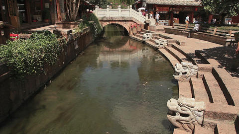 ancient bridge in Dayan old town Footage