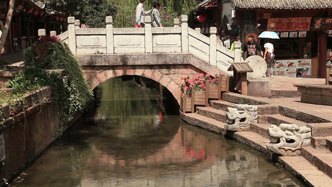 ancient bridge in Dayan old town Lijiang Footage