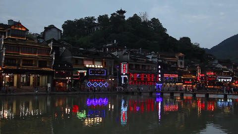 evening view of historic center of Fenghuang city,China Footage