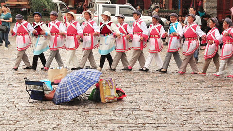 Naxi Dongba women perform traditional national dance Footage