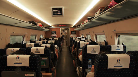 compartment of Chinese high-speed train Footage