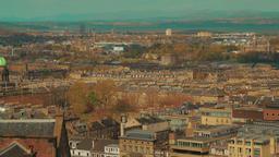 Wide angle panoramic shot of the historic city center of Edinburgh, Scotland, UK Footage
