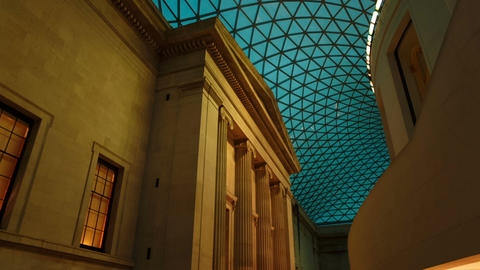 Gimbal shot showing interior details of the British Museum in London, England, U Footage
