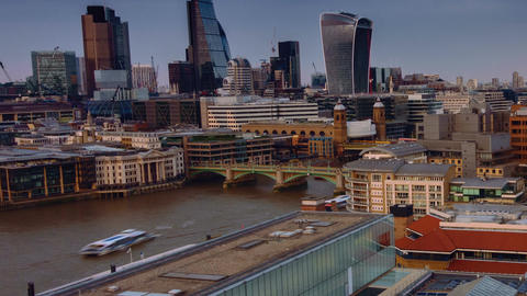 Timelapse view of river Thames, the Shard and the financial city center of Londo Footage