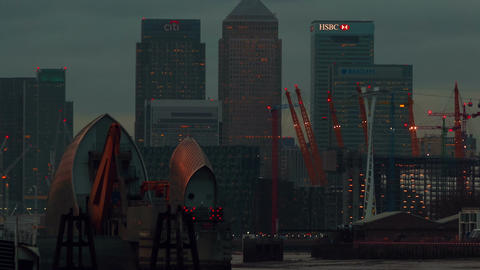 Telephoto shot showing the Canary Wharf financial center in London, Emirates Air Footage
