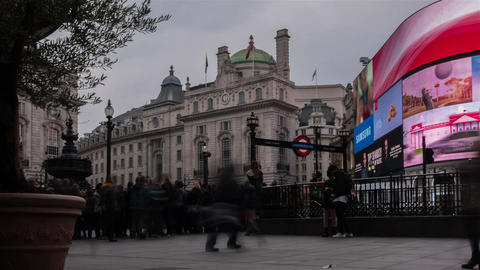 Low angle timelapse of Piccadilly Circus in London, England, UK during daytime o Footage