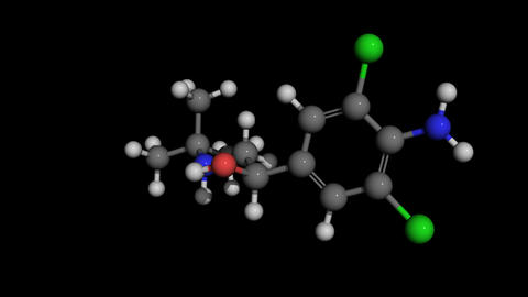 clenbuterol molecule model rotating Animation