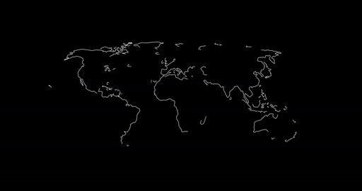 World map in lines Animation