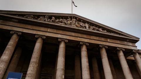Gimbal approach to the entrance of the British Museum in London, England, UK Footage