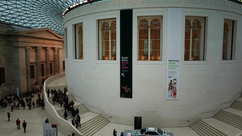 Panning shot of the Great Court of the British Museum in London, England, UK Footage