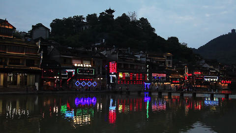 evening view of historic center of Fenghuang city, China Footage