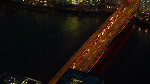 Aerial night view of traffic congestion London Bridge taken from the tallest bui Footage