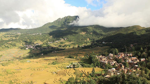 Time Lapse of rice terraces in Yunnan Province, China Footage