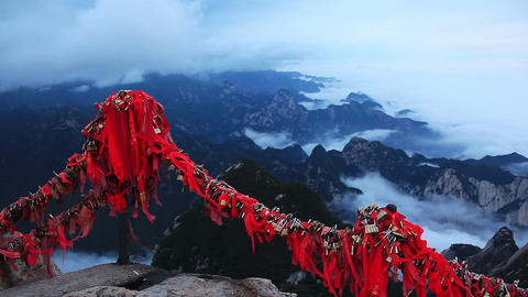 Aerial view from the highest point of Huashan mountains in China Live Action