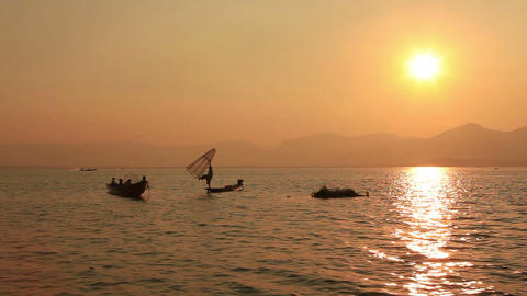 Inle lake at sunrise, Myanmar Footage