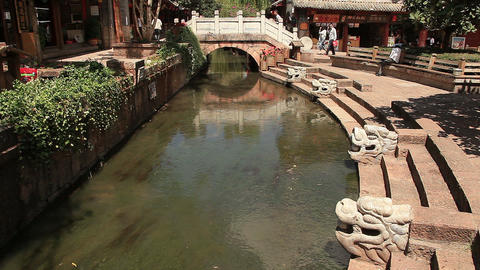 ancient bridge in Dayan old town, Lijiang, China Footage