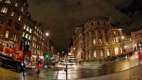 Fisheye timelapse night view of the Trafalgar Square area, Big Ben and the Admir Footage