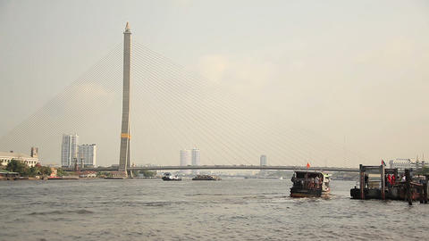 disembarkation of passengers to the pier on the Chao Phraya River, Bangkok, Thai Footage