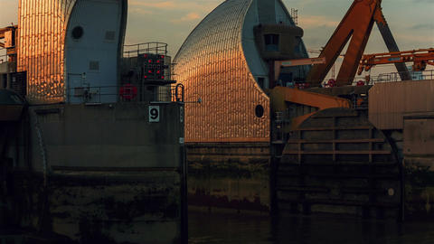 Closeup shot showing the back detail of the Thames Barrier facility in London, E Footage