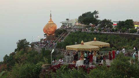 Kyaiktiyo pagoda (Golden Rock) at twilight Footage