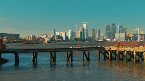 Panoramic view of the Canary Wharf financial center in London, England, UK on a  Footage