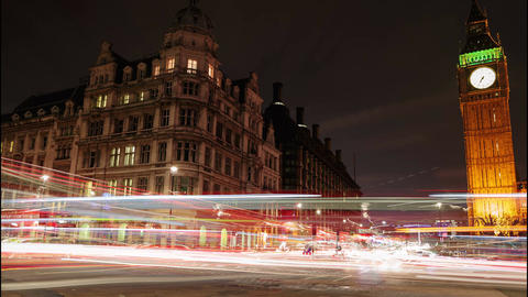 Car light trails slow motion night timelapse showing Westminster and Big Ben in  Live Action