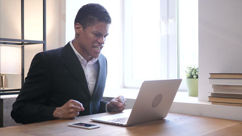 Screaming Upset Black Businessman at Work Footage