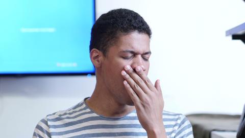 Yawning Tired Man, Portrait Footage