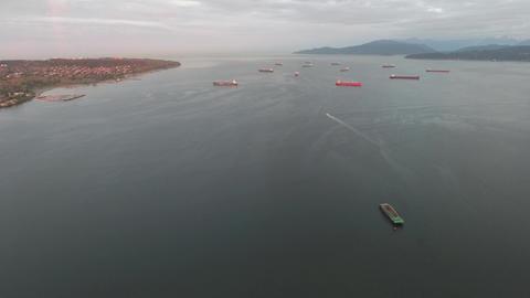 Aerial view of ocean full of tankers Footage