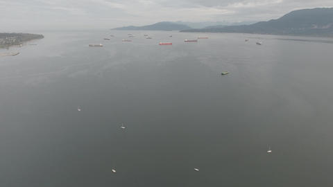 Aerial view of boats and tankers in the ocean Footage