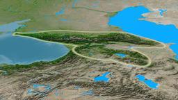 Revolution around Caucasus mountain range - glowed. Satellite imagery Animation