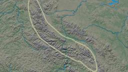 Zoom into Cherskiy mountain range - glowed. Natural Earth Animation