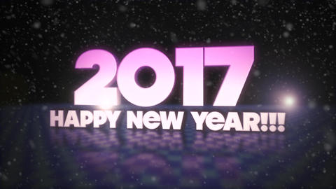 Happy New Year Purple 3D Text With Snow Falling Footage