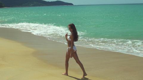 Relaxed Woman Enjoying Tropical Beach Footage