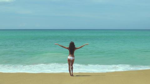 Woman In Bikini At Tropical Beach Footage