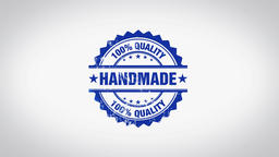 """""""Handmade"""" 3D Animated Round Wooden Stamp Animation Animation"""