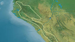Zoom into Crystal mountain range - glowed. Topographic map Animation
