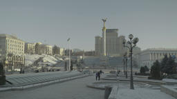 The city skyline of Kiev in the winter. The Independence Square. Winter Footage