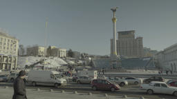 Independence square and Khreshchatyk street in Central Kyiv. Ukraine Footage