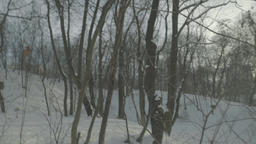 A man lost in the woods in winter. POV Footage